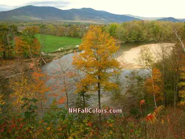 New England Fall Foliage along river from Kancamagus Hwy Overlook - in New Hampshire White Mountains