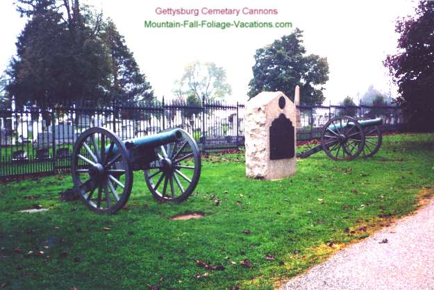 Gettysburg Cemetary with Gettysburg Battle Cannons