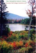 New England Fall Foliage Color - Small Lake on Kancamagus Hwy Scenic Drive