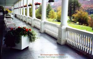 Mt Washington Hotel Porch and Fall Foliage View - White Mountains, New Hampshire