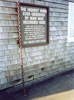 Building tied down with log chains for high winds at top of Mt Washington